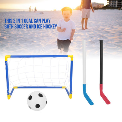 8pcs/set Kids Ice Hockey Stick Training Tools Sports Soccer & Field Hockey Goals with Balls and Pump Toy Set