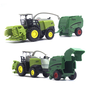 2Pcs 1/42 Kids  Car Toy Tractor Harvester Farm Vehicle Model Kids Educational