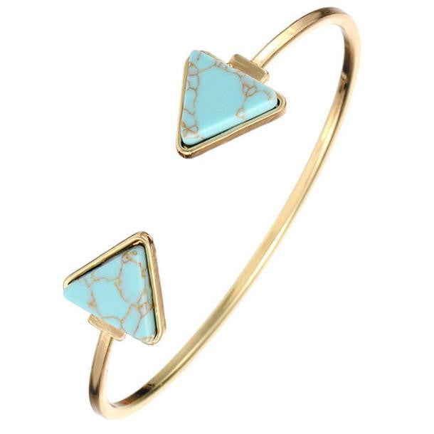 Stylish Open Bangle Triangle Marble Turquoise Stone Cuff Bracelet Jewelry BU