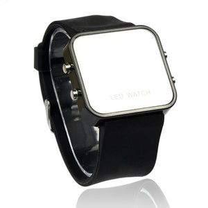 LED Calendar Day/Date Silicone Mirror Watch