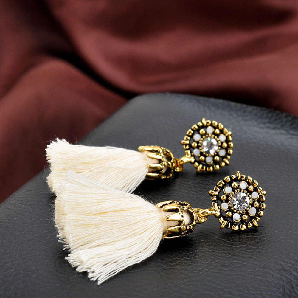 Vintage Style Rhinestones Crystal Tassel Dangle Stud Earrings Fashion Jewelry BG