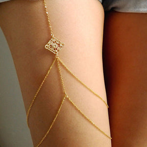 Women Body Jewelry Handmade Chain Tassel Thigh Leg Chain Bracelet