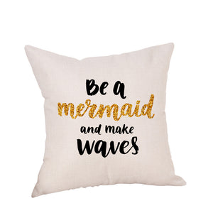 Happy Christmas Pillow Cases Linen Sofa Cushion Cover Home Decor Pillow Case