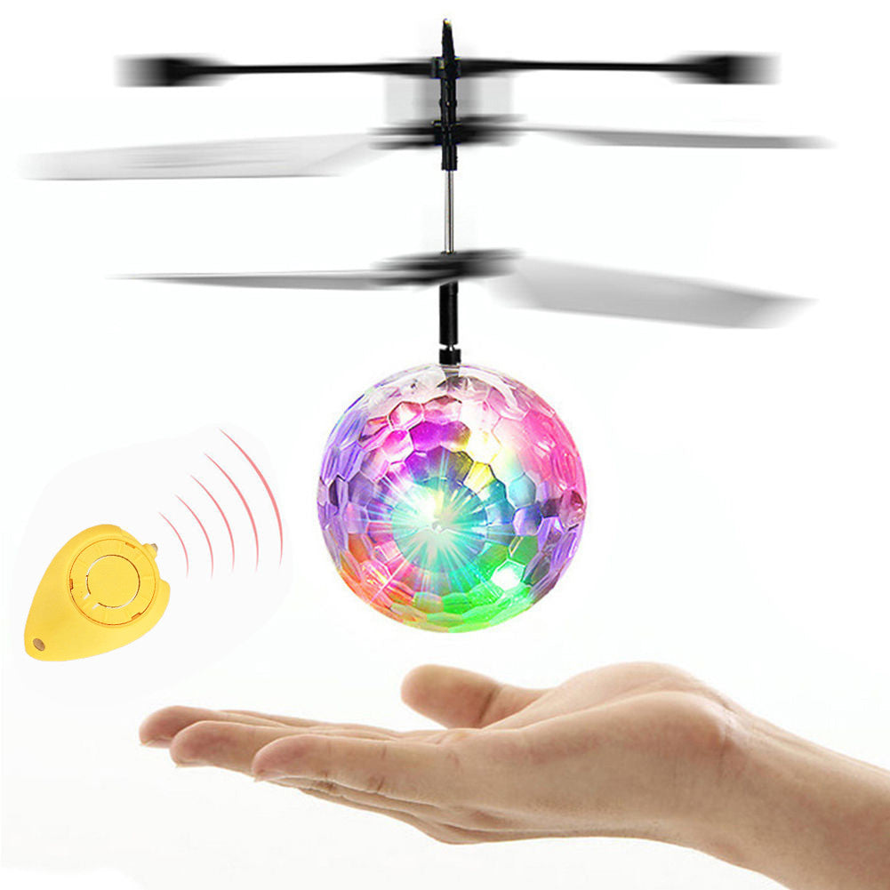 Flying RC Electric Ball LED Flashing Light Aircraft Helicopter Induction Toy