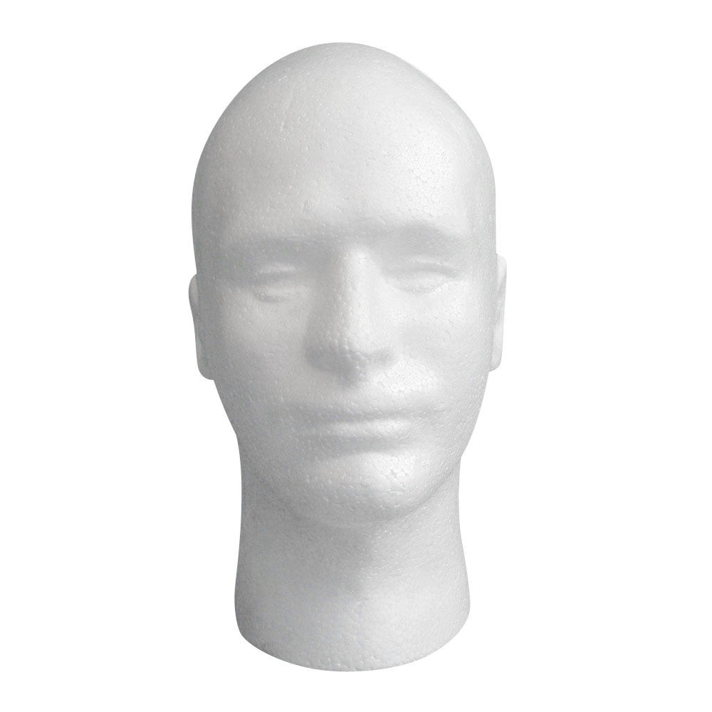 Male Styrofoam Mannequin Manikin Head Model Foam Wig Hair Glasses Display