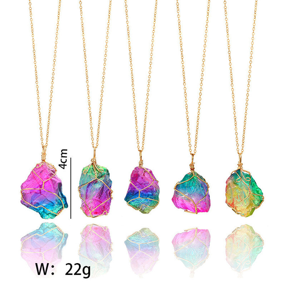Rainbow Stone Natural Crystal  Rock Necklace Gold Plated Quartz Pendant