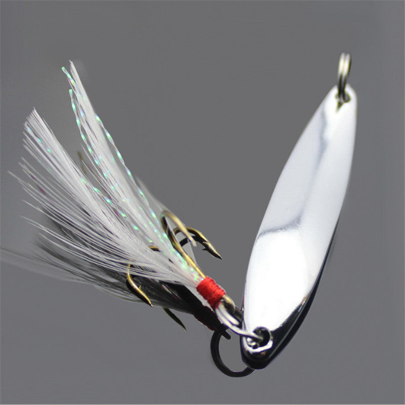 Metal Fishing Lure Spoon Spinner with Feather Hard Bait Wobblers