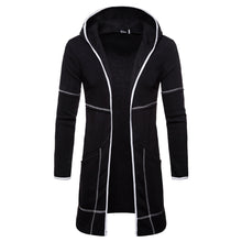 Fashion Mens Hooded Solid Trench Coat Jacket Cardigan Long Sleeve Outwear Blouse