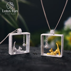 Lotus Fun Real 925 Sterling Silver Handmade Designer Fine Jewelry Fashion Cat Playing Balls Pendant without Necklace for Women