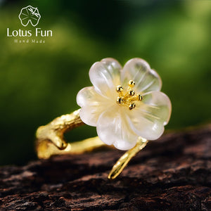 Lotus Fun Real 925 Sterling Silver Natural Handmade Fine Jewelry Flower in the Rain Ring Open Rings for Women Female Bijoux