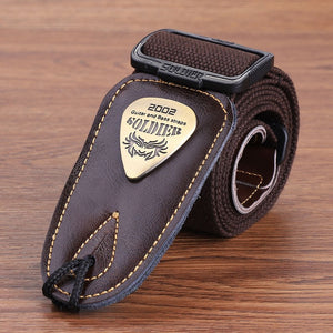 Soldier Acoustic Electric Bass Guitar Strap Black Leather Ends Belt Shoulder Personalized Metal LOGO Straps Guitar Accessories