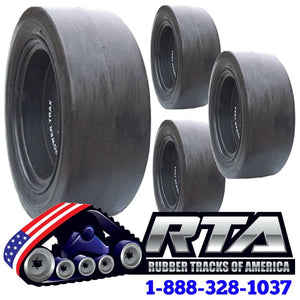 Set of 4 Solid Full Smooth Skid Steer Tires Fits JCB 8 Lug Flat Proof 12X16.5