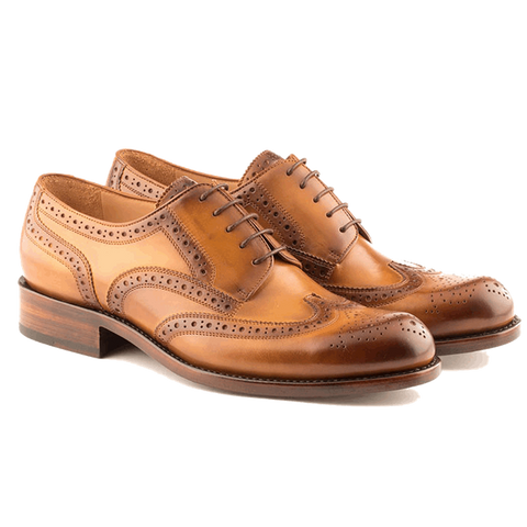 Abramo - Wingtip Brogue in Burnt Gold Calf Leather