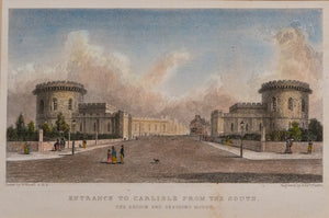Entrance to Carlisle from the South - Antique Steel Engraving circa 1830