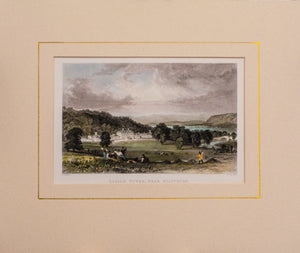 Dallam Tower near Milnthorp - Antique Steel Engraving circa 1834