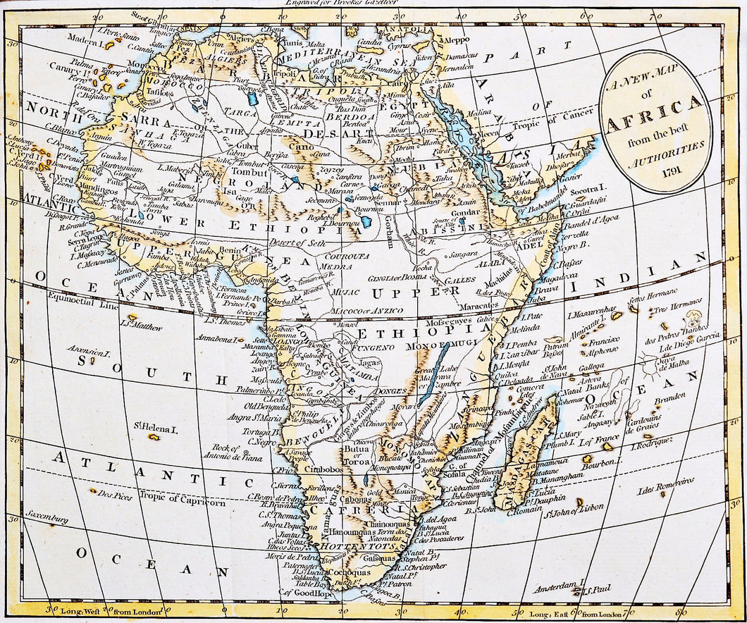 A New Map of Africa From the Best Authorities - Antique Map 1791