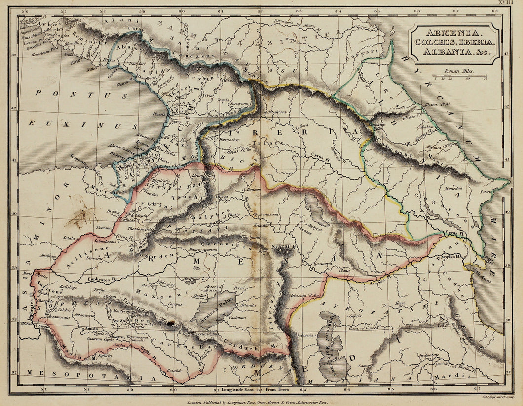 Armenia Colchis Iberia Albania - Antique Map circa 1833