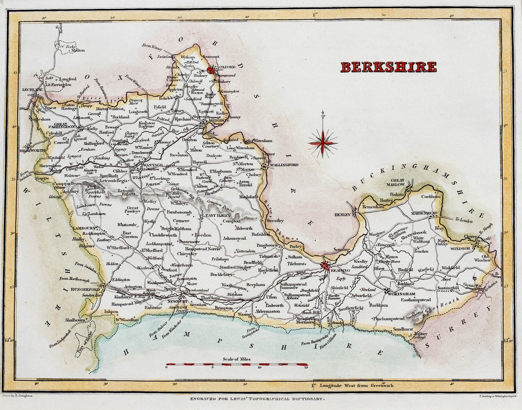 Berkshire - Antique Map by R Creighton circa 1836