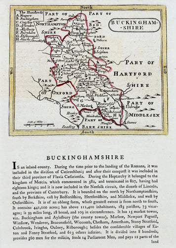 Buckinghamshire - Antique Map with Historical Statistics by Seller/Grose circa 1785