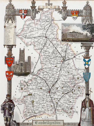 Cambridgeshire - Antique Map by Thomas Moule circa 1848