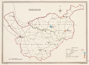 Cheshire - Antique Map Engraved by J & C Walker circa 1840