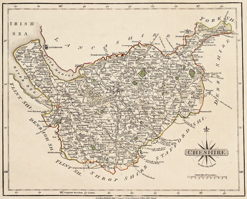 Cheshire - Antique Map by John Cary circa 1793