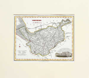 Cheshire - Antique Map by Fullarton circa 1848