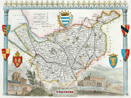 Cheshire - Antique Map by T Moule circa 1848