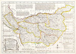 Emanuel Bowen's Map of Cheshire Divided into Its Hundreds - circa 1767