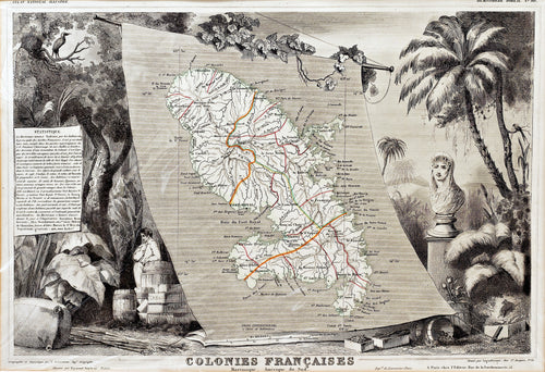 Colonies Francaises - Martinique - Antique Map circa 1840