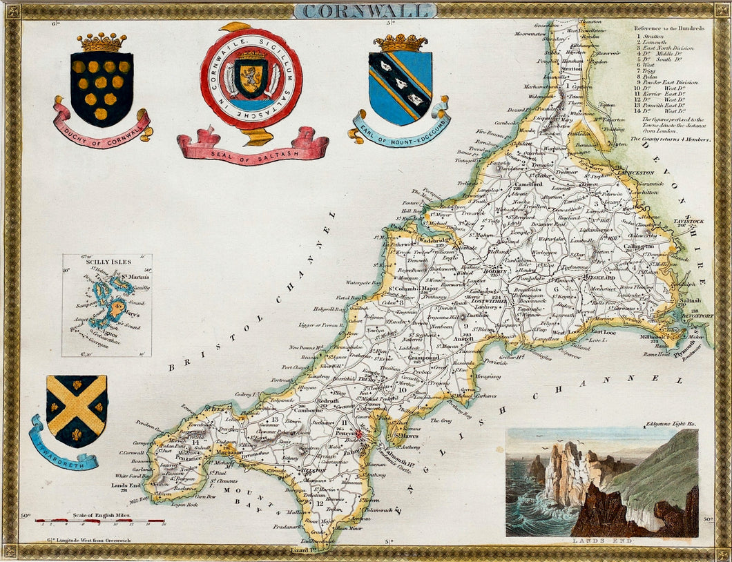Cornwall - Antique Map by Thomas Moule circa 1836