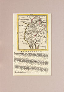 Cumberland - Antique Map by Seller and Grose circa 1787