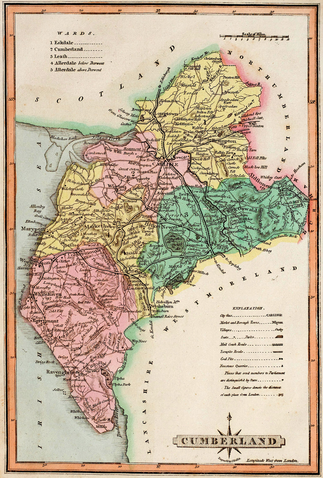 Cumberland - Antique Map by J Wallis circa 1814