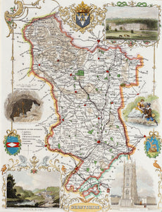 Derbyshire - Antique Map by T Moule circa 1848