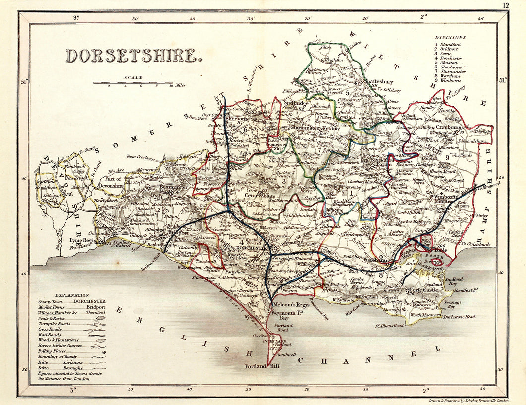 Dorsetshire - Antique Map by J Archer circa 1848