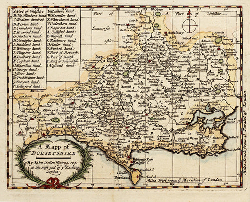 A Mappe of Dorsetshire - Antique Map by John Seller circa 1694