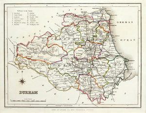 Durham - Antique Map by T Starling circa 1848