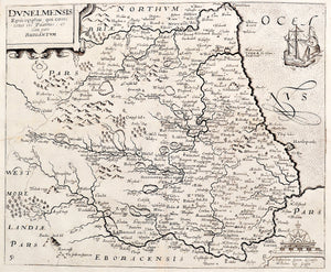 Antique Map of the North East of England - 1637