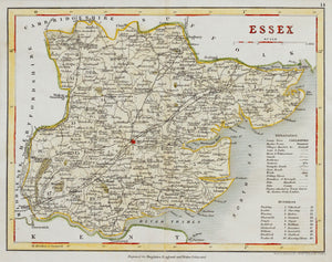 Essex - Antique Map by J Archer circa 1848