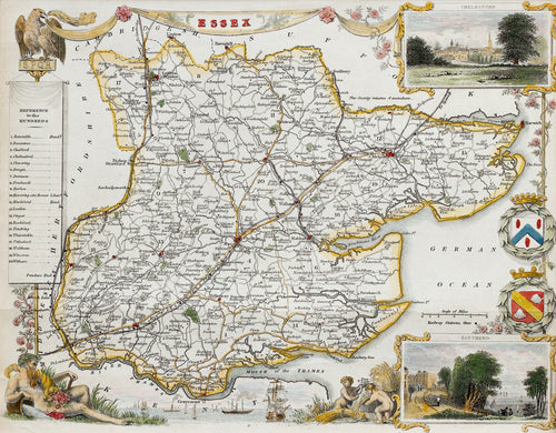 Essex - Antique Map by Thomas Moule circa 1848