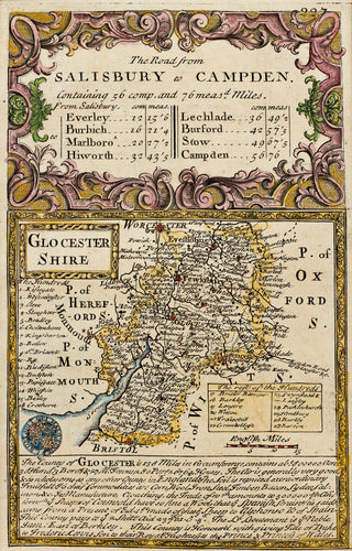 The Road from Salisbury to Campden - Antique Map by Owen/Bowen circa 1720