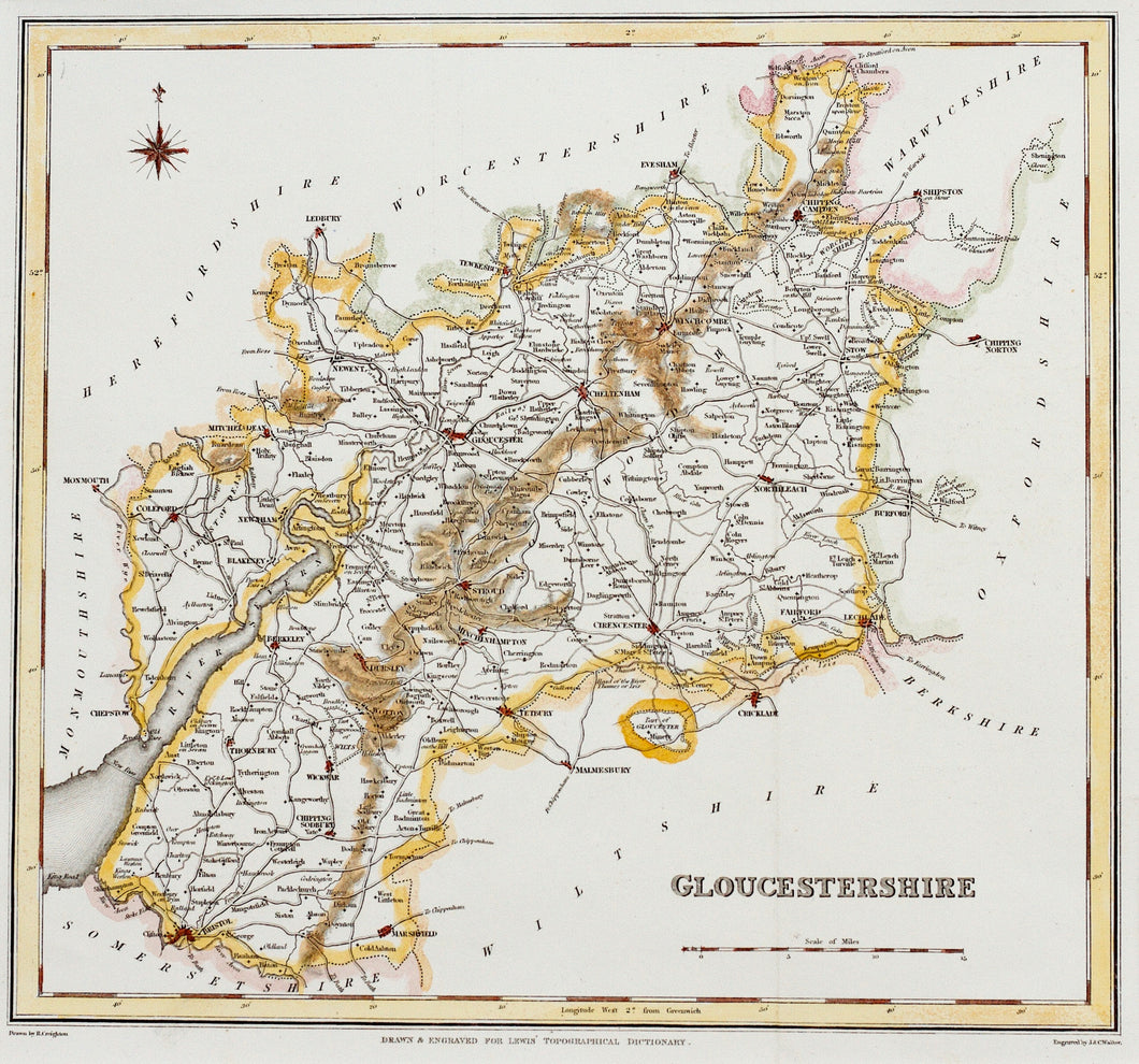 Gloucestershire - Antique Map by JC Walker circa 1831