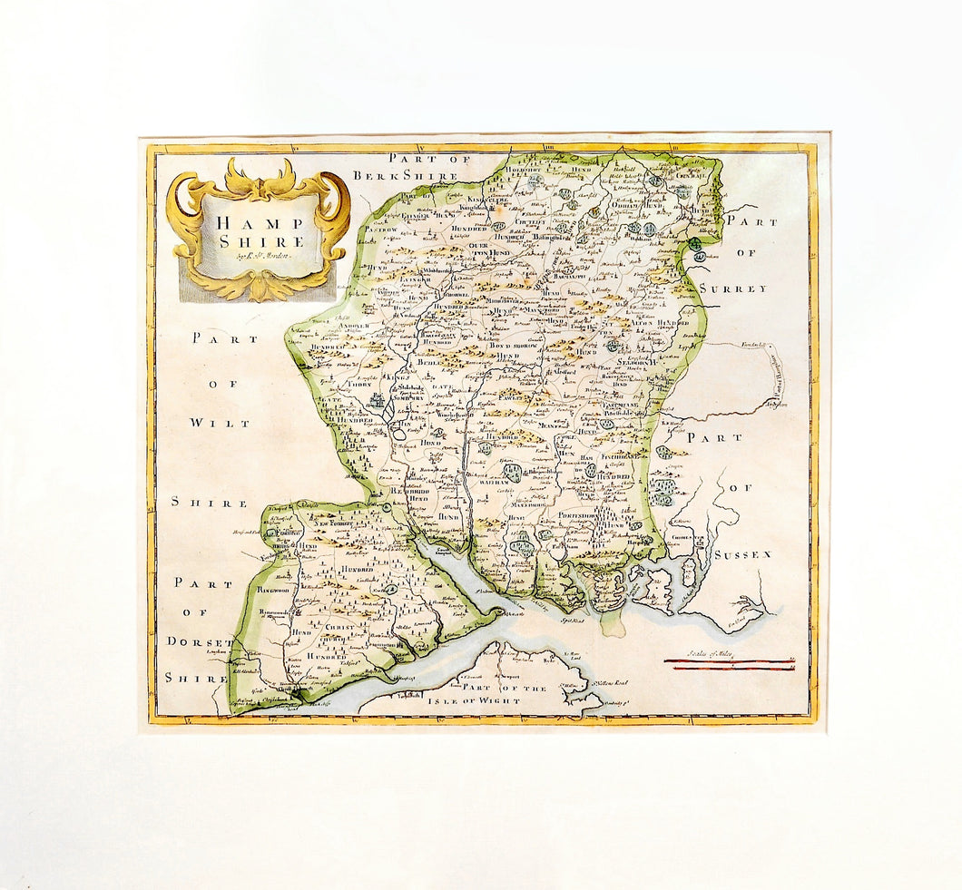 Map of Hampshire - Antique Map by Robert Morden circa 1695