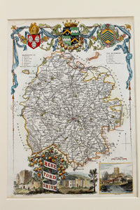 Herefordshire - Antique Map by Thomas Moule circa 1842