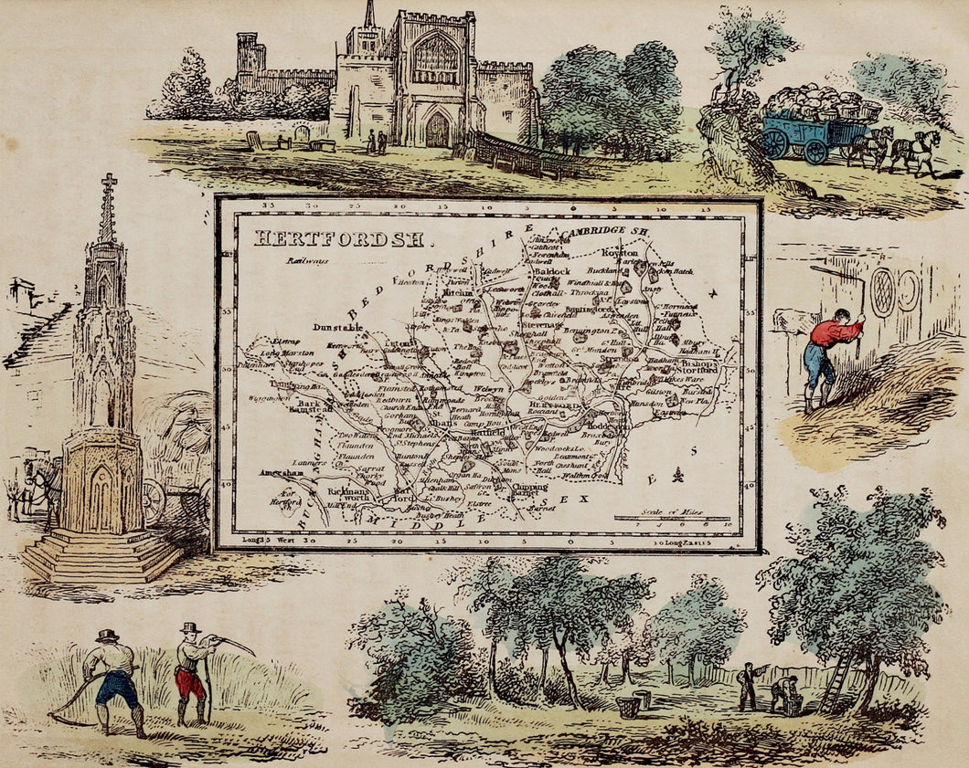 Hertfordshire - Antique Map by R Ramble circa 1845