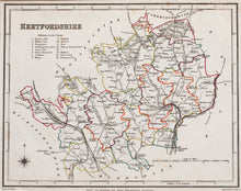 Load image into Gallery viewer, Hertfordshire - Antique Map by JC Walker circa 1848