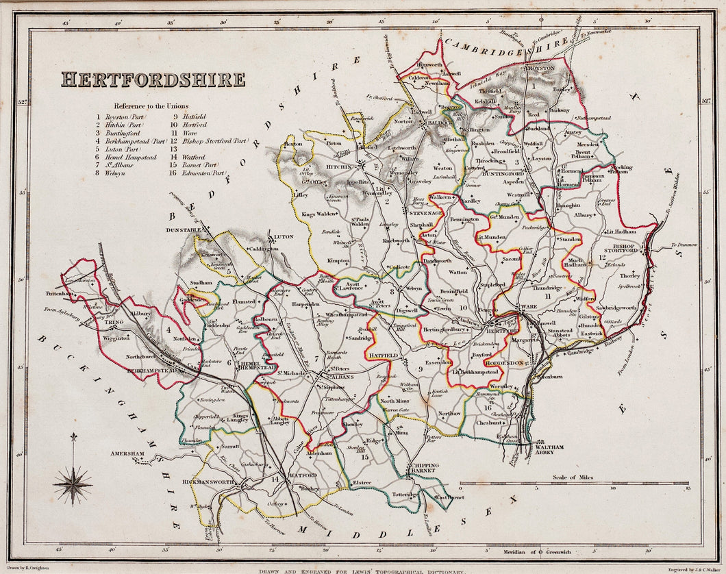 Hertfordshire - Antique Map by JC Walker circa 1848
