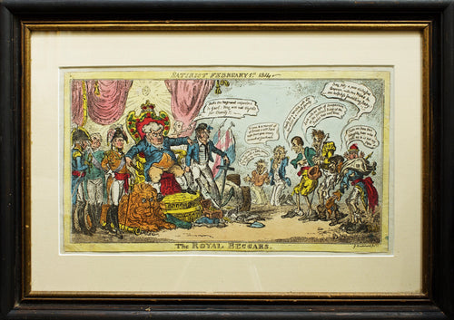 The Royal Beggars - Antique Caricature 1814