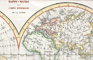 Mappe-Monde Map of the World - Copper Engraving circa 1780