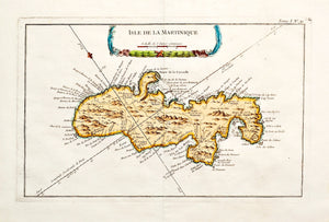 Isle de la Martinique - Antique Map of Martinique circa 1750